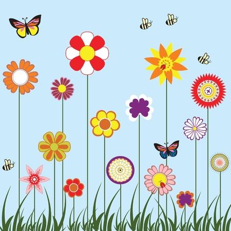 bee garden: Happy flowers Illustration
