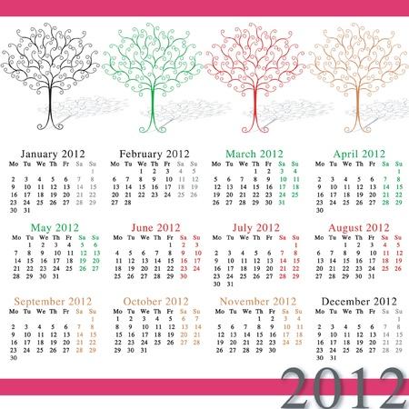 2012 calendar by seasons