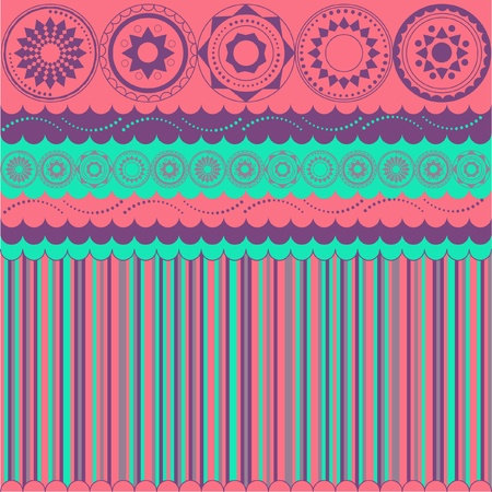 Background with stripes and circular motifs Vector