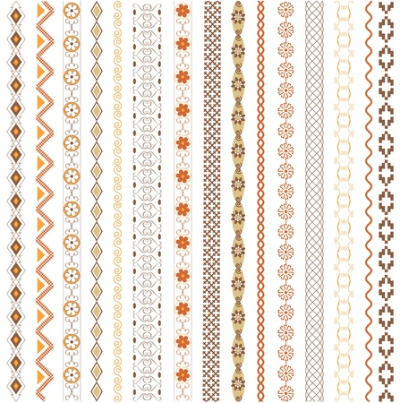 decorative borders: Various motifs colored