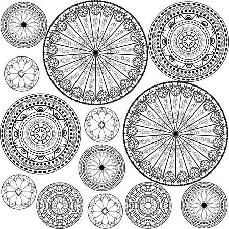ペルシア: 黒と白のパターン  イラスト・ベクター素材