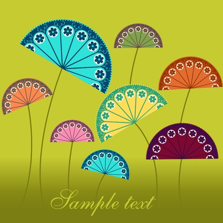 Card - oriental flowers eps Vector