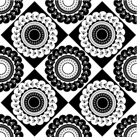 Pattern of round black and white ornaments Vector