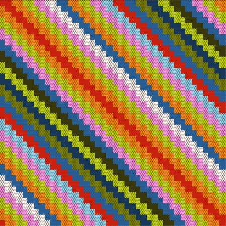 Pattern colorful with knitted zig zag Vector