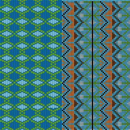 Two patterns knitted Vector