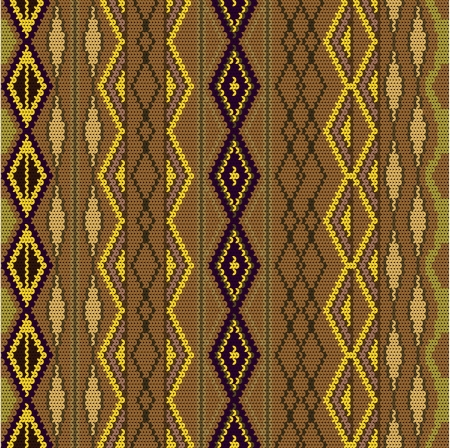 Pattern - knitted wool colored in brown Vector