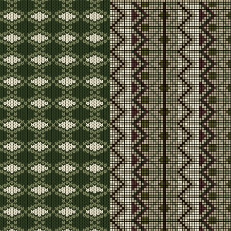 Two patterns tratitional knitted Vector