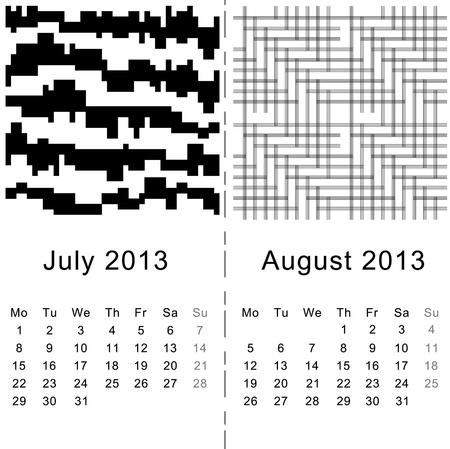 Calendar July   August 2013 Stock Vector - 16160410