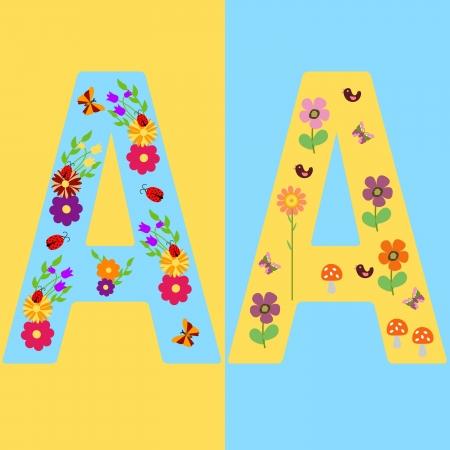Funny initials letter A  Vector
