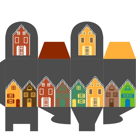 Present box with houses  Vector