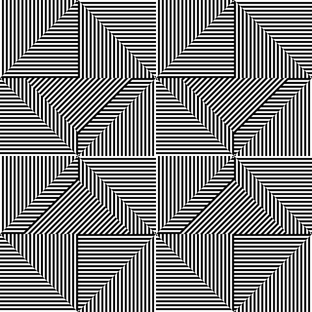 illusions: Triangle pattern with line black and white