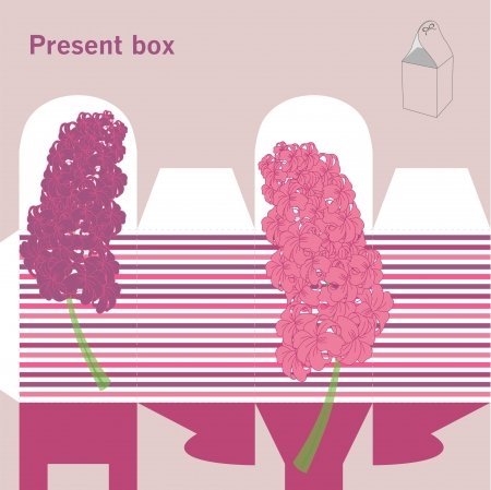 box template: Present box with hyacinth