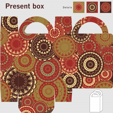 Box template  Ornaments pattern Vector