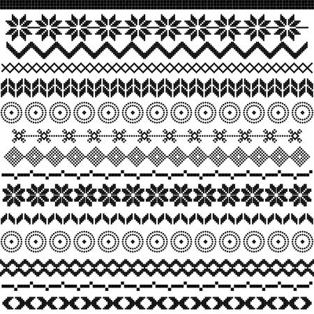 Ethnic pattern motifs - black and white Illustration