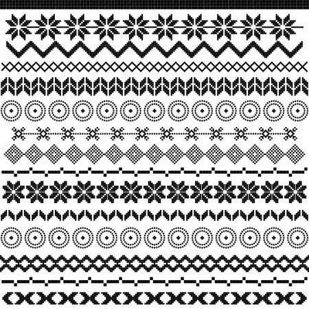 Ethnic pattern motifs - black and white Illustration