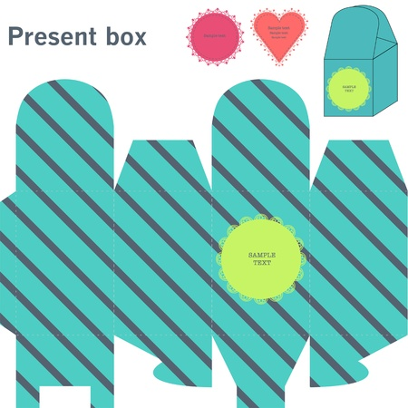Present box with diagonal line Vector