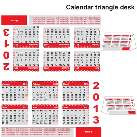 Office 2013 year calendar triangle desk Vector