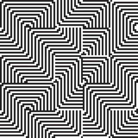 optical art: Patr�n con la l�nea de blanco y negro en zigzag