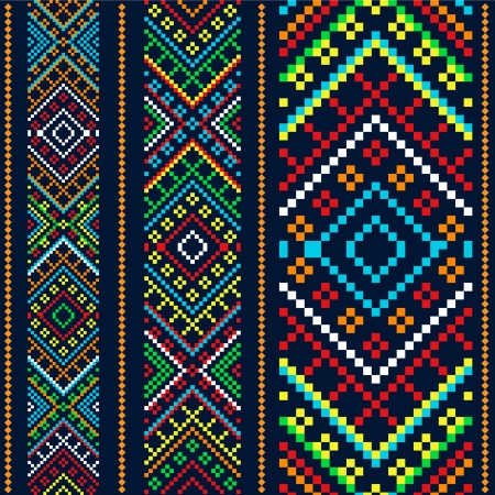 bulgarian: Color variants ethnic ornament Illustration