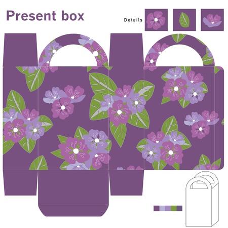 die cut: Box with purple flowers