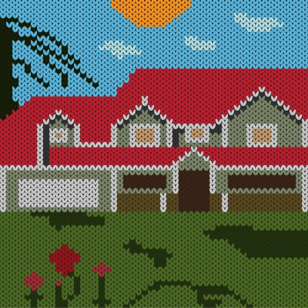 lodge: Knitted - landscape with a house