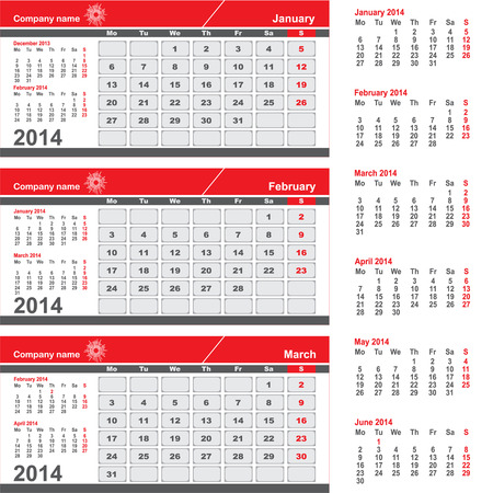schedulers: Three month calendar - January, February, March
