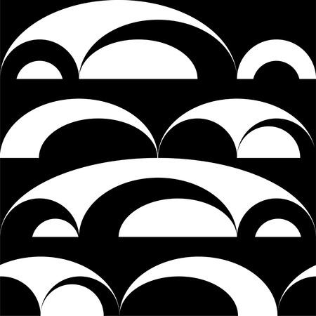 Black and white seamless circle background Illustration