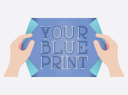 readymade: Creative template or ready-made design showing two hands that hold a curled paper, trying to reveal the words Your Blue Print. Vector can be easily edited to delete