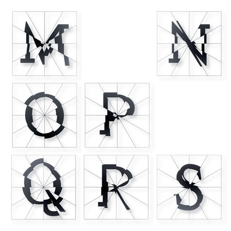 s and m: Broken Letters Alphabet Part from M to S Illustration