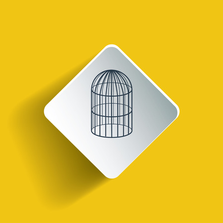 prison house: Bird cage on a rhombus with drop shadow that was made using gradient mesh. Line art symbol style.