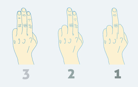 rude: Three step countdown with middle finger. Light colors.