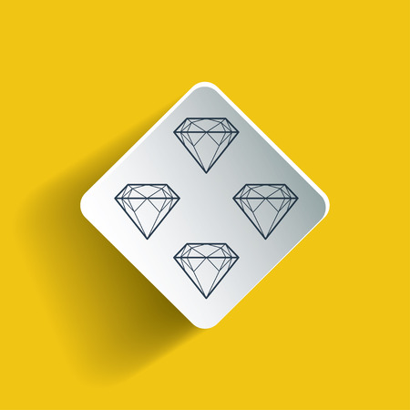 Diamond vector icons set  on rhombus. Dropped shadow is a gradient mesh. Illustration