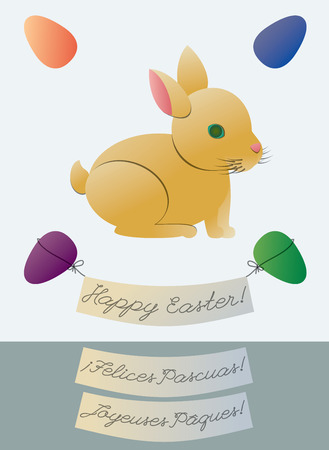 Cute Easter Bunny Greeting Card with two alternate language greetings, French and Spanish Vector