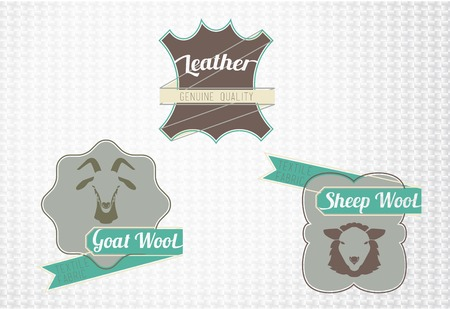 sheep wool: Textile fiber set: leather, goat wool, sheep wool. Flat style design.