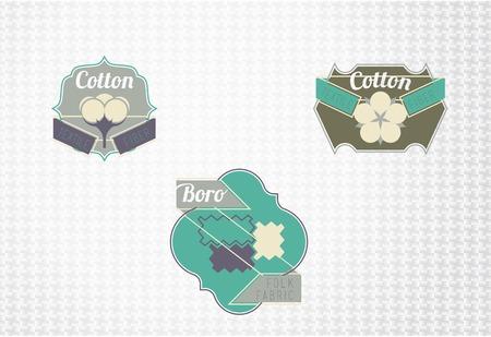 woven label: Textile fiber set: cotton, boro. Flat style design.