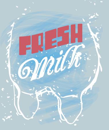 udder: Fresh Milk Signage in a Cow Udder. Hand Drawn. Illustration