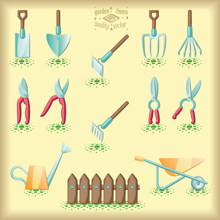 pruning: Gardening tools set of illustration. Colorful with pointilist shadows.
