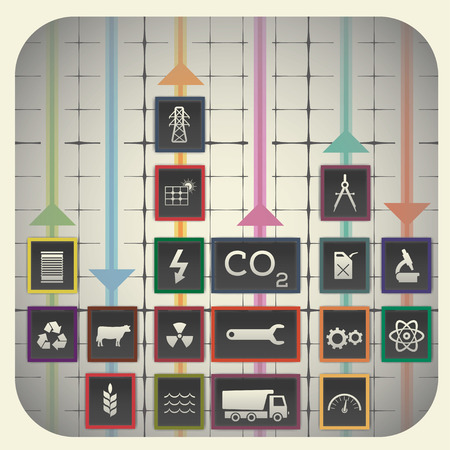 agriculture industry: 18 infographic elements with graph background including industry symbols Illustration