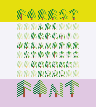 Forest Font in Flat Style. Includes Numerals and Cedar Texture Background. Vector