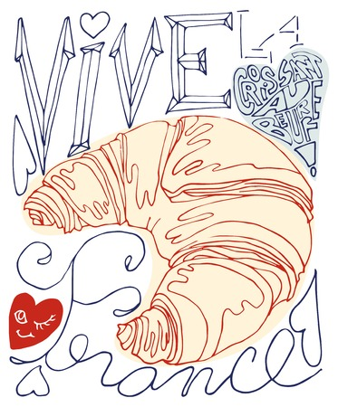fourteenth: French Celebration Card with croissant and text that means The National Day of France Illustration