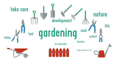 pruning: Gardening tools set of illustration. Flat design using UI colors, surrounded by words.