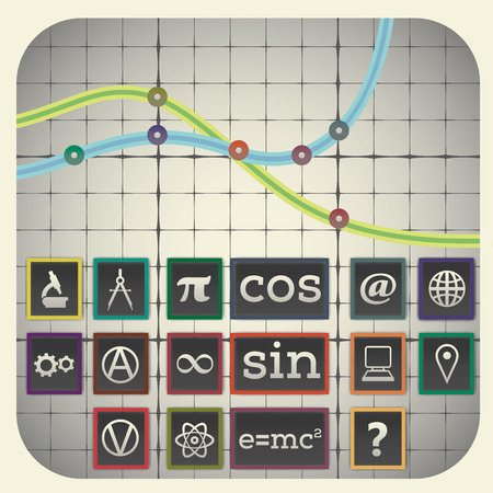 Infographic elements with graph background including sixteen science icons Illustration