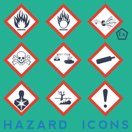 recycling symbol: Hazard Icons: 9 + 1 package symbols. Red border.