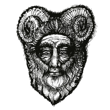 horned: Horned Deity Black that is Hand Drawn. Scary with beard.