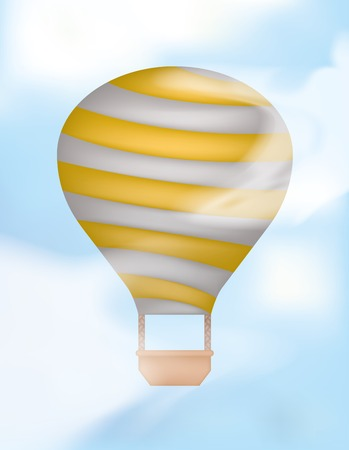 Hot Air Balloon up in the Sky. Gradient Mesh Clouds Overlay. Clipping Maks used. Vector
