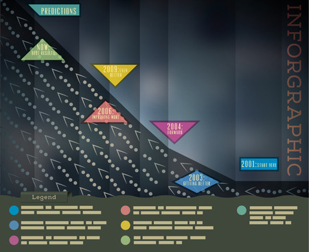 legend: Dark Background Infographics Template. Timeline with Arrows. Bottom is Legend. Illustration