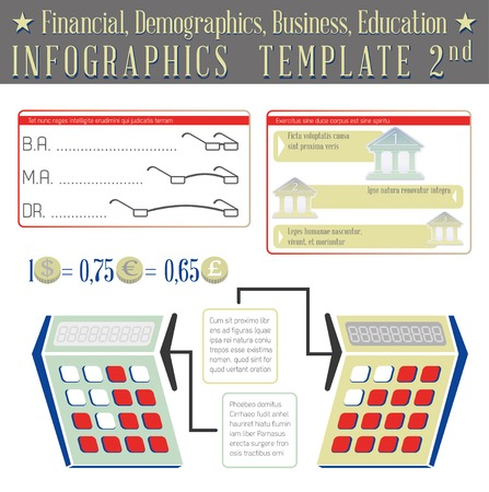 demographics: Financial, Demographics, Business, Education. Infographics template 02