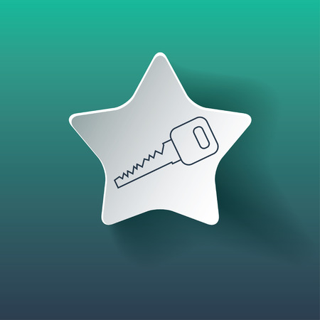 Key icon on star. Dropped shadow is a gradient mesh. Vector