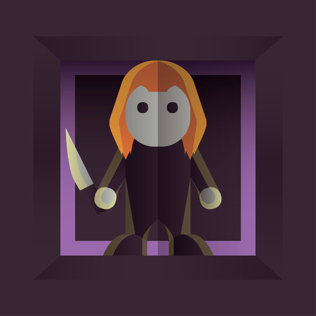 Fearful Halloween Character: Small Killer Doll. Flat style design. Vector