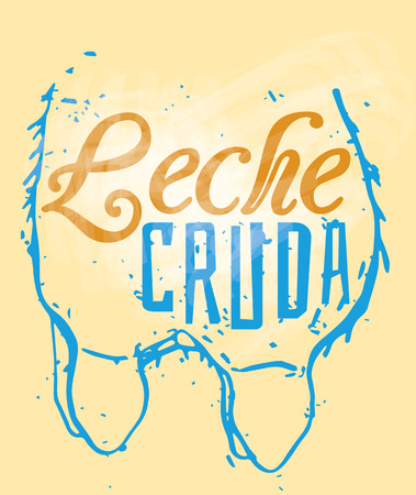 cruda: Leche Cruda Signage in a Cow Udder, text means Raw Milk in Spanish language